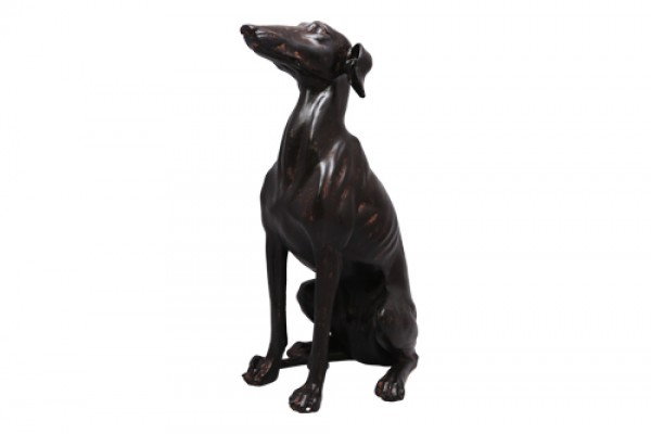Tượng Con Chó Ngồi Bronzed